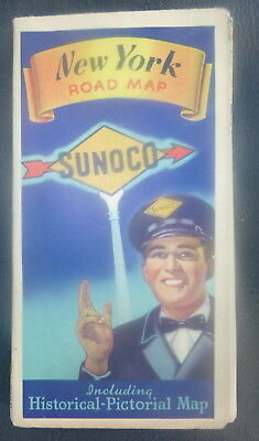 1942 New York  road  map Sunoco  oil  gas Long Island pictorial guide