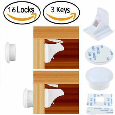 Invisible Magnetic Baby Pet Proof Cupboard Drawer Safety 16 Locks & 3 Keys Set