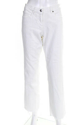 Eileen Fisher Womens Mid Rise Flare Leg Casual Jeans Pants White Cotton Size S
