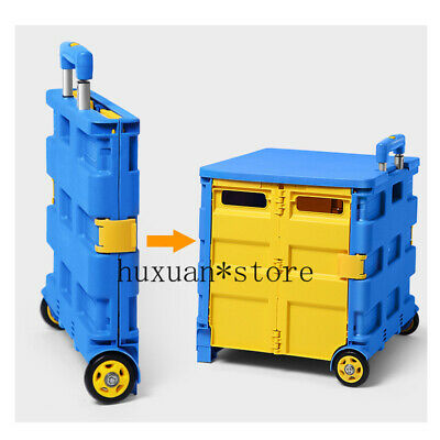 Folding Shopping Cart Storage Plastic Portable Trolley Case Fishing Boxes Daily