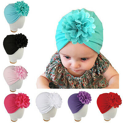 Baby Toddler Girl Bow Knot Turban Cap Cotton Headwrap India Headband Beanie Hats
