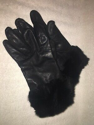 CHARTER CLUB LEATHER Winter Shell Faux Fur- Lining and Cuff Gloves / Size 7.5
