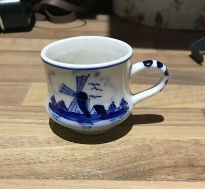 Delft Blue Pottery Hand Painted Windmill Mug