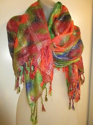 Metallic scarf Shawl Wrap Rainbow Sorbet Silver Bright Colorful Cover Up Shiny