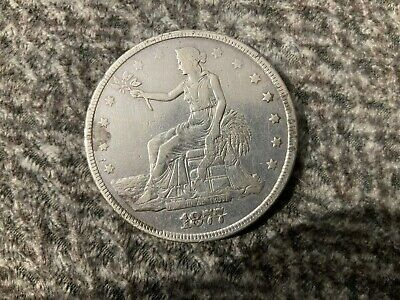1877 Trade Silver Dollar - Cleaned - Gouged