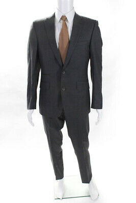 Abito Sartoriale Mens Two Button Suit Blazer Pants Jacket Gray Wool Size R 50