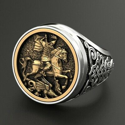 Mens Rings 18K Gold Spirit of The Warrior Ancient Knight Ethnic Punk Jewelry
