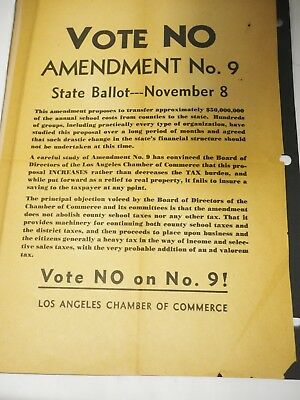 Vote No! Amendment No.9 California State ballot November 8 1960s? poster flyer