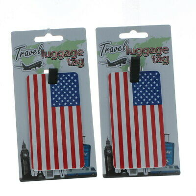 Lot of 2 American Flag Travel Luggage Tags Suitcase ID GL191