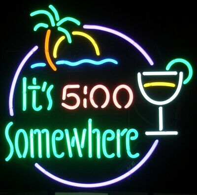 It's 5 O'clock Somewhere Palm Tree Neon Sign Lamp Light Beer Bar With Dimmer