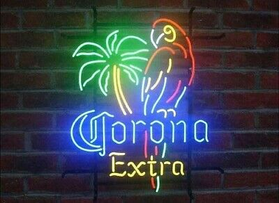 Corona Extra Parrot Right Palm Tree Neon Sign Lamp Light Beer Bar With Dimmer