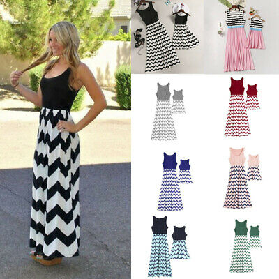 Mommy /& Me Matching Outfits Mother and Daughter Casual Boho Stripe Maxi Dress
