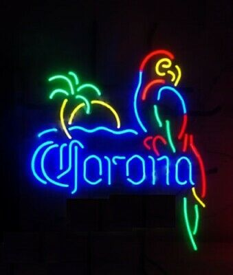 Corona Parrot With Palm Tree Neon Sign Lamp Light Beer Bar With Dimmer