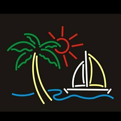 Palm Tree Sun Boat Neon Sign Lamp Light Beer Bar With Dimmer