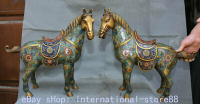 "16.8"" Marked Old China Copper Cloisonne Feng Shui Tang Horse Flower Statue Pair"