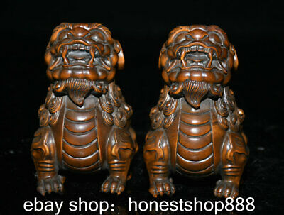 """4"""" Old Chinese Boxwood Hand-carved Feng Shui Foo Dog Lion Unicorn Statue Pair"""