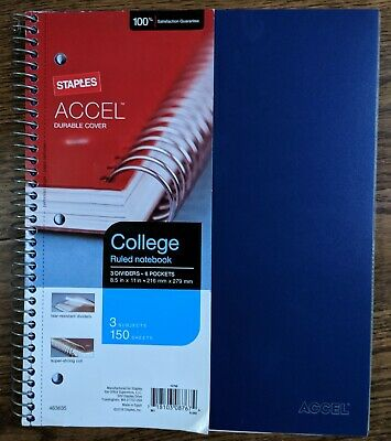 "Staples Accel durable cover 3 Subject Notebook 8 1/2"" x 11"" College Ruled"