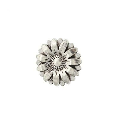 1PC Metal Sunflower Carved Antique Sewing Craft DIY Shank Buttons Su Silver X1U1