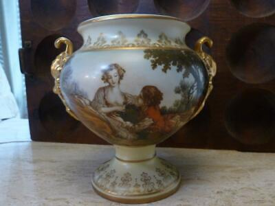 Anitique Porcelain Young Lovers Hand Painted Swan Lake Scene Cachepot Urn Vase