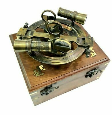 """Nautical 6"""" Antique Brass Round  Sextant Marine Ship Instruments with Wooden Box"""