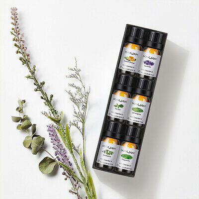 100% Pure Essential Oil Set of 6 Scents 10ml Therapeutic Grade Bottle Combo Set