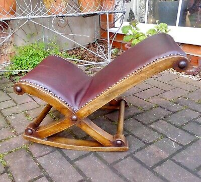Victorian Walnut Rocking Gout Stool~Footstool~Foot Rest~Oxblood Leather