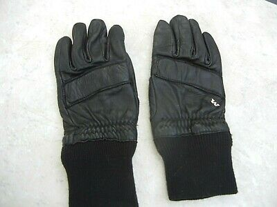 Women's Vintage Genuine Black Leather Gloves for Snowmobiling, Cycling, Skiing e