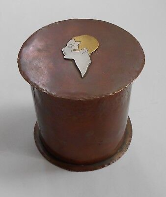 Early Mixed Metals Copper/Silver/Brass Arts & Crafts-Art Deco Lidded Box.