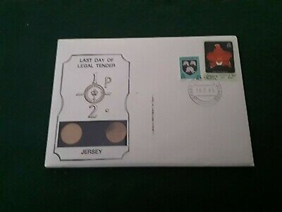 Jersey 1981 Half Penny Last Day Legal Tender Brilliant Uncirculated Coin Cover