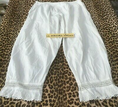 FRENCH 1800s LADY CROTCHLESS PANTALETTE DRAWERS~WHITE EMBROIDERED COTTON~NEW~S/M