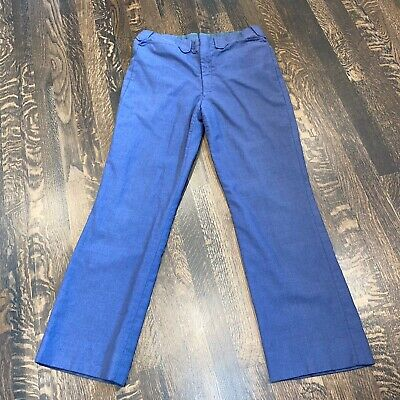 Vtg 60s 70s MENS 34 31 Navy Leisure Suit PANTS Hippie Disco Slacks Poly Wool MOD