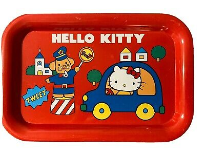 Vintage 1976 Hello Kittty Sanrio Japan Metal Tray Red Kids Rare Free Shipping!
