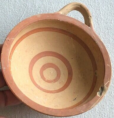 Ancient Greek Pottery Decorated Bands Terracotta Drinking Cup Loop Handle Bowl