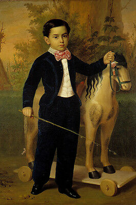 """perfact oil painting handpainted on canvas""""A  boy and little wooden horse""""@N4803"""