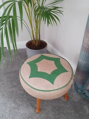 Mid Century Made In England Sherborne Footstool Cream And Green