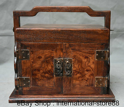"""11.2"""" Old Chinese Yellow Rosewood Carving Palace Portable  Drawer Jewelry Box"""
