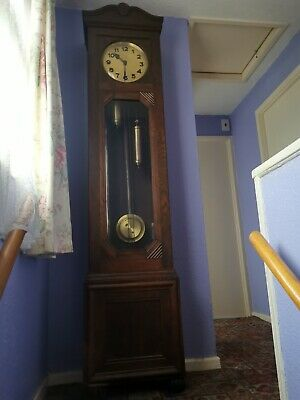 Antique Grandfather Clock Long Case Wooden Needs Tlc