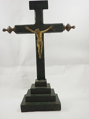Antique Spanish  wooden Crucifix with bronze figure of Christ circ 1905