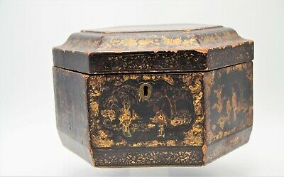 Antique Chinese Gilt Black Lacquer Box of Octagon form painted with Palace Scene