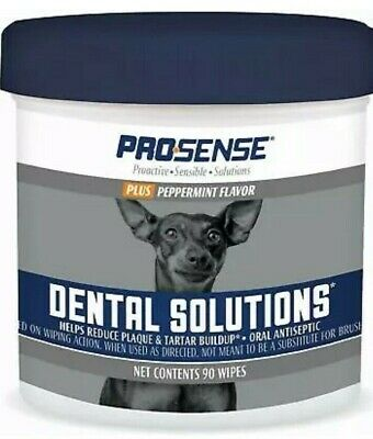 (2 Pack) Pro-Sense Plus Dental Solutions Wipes for Dogs 90 Ct Peppermint Flavor