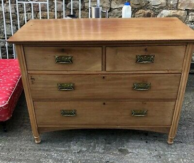 Antique Oak Chest of Drawers Arts & Crafts  19th Century Country Solid Oak
