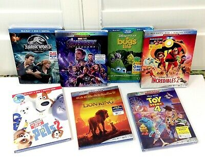 Blu Ray + DVD + Digital  Avengers / Toy Story 4 / Lion King / + 4 More Titles