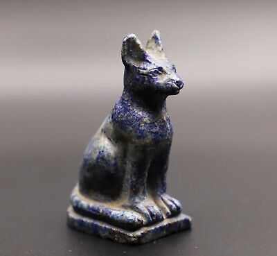 Rare EGYPTIAN BASTED EGYPT ANTIQUES Ubasti CAT God LAPIS LAZULI Statue STONE BC
