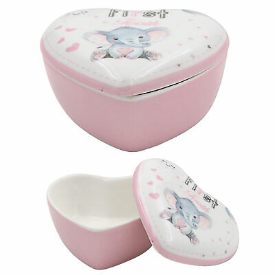 Bird and Ellie Baby Ceramic 1st Tooth Trinket Box Gift - Girl
