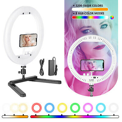 Neewer 13-inch RGB Dimmable LED Ring Light with Foldable Table-top Bracket