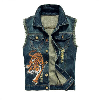 Men's Clothing Blue Denim Jean Top Jacket Sleeveless Vest  Embroidery Tiger