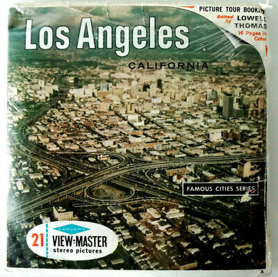 3x VIEW MASTER REEL ⭐ LOS ANGELES ⭐ +BOOKLET / CALIFORNIA / FAMOUS CITIES SERIES