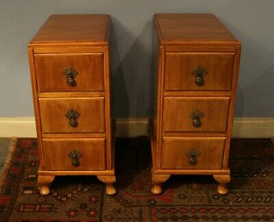 GOOD  ART DECO 1920s WALNUT PAIR OF BEDSIDE  DRAWERS  EXCELLENT CONDITION