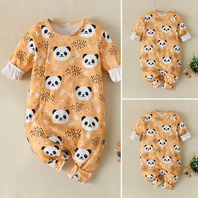 Newborn Baby Boys Girls Cotton Rompers Panda Print Outfits Long Sleeve Jumpsuit