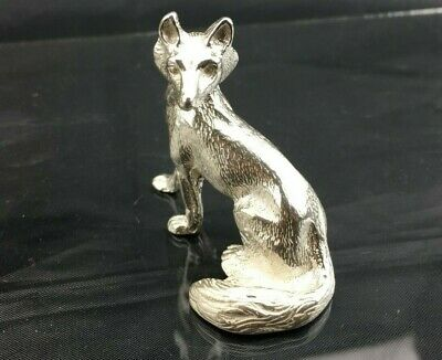 """SOLID STERLING SILVER Figure - Sitting FOX - 3oz - 2"""" - BSM026 - NOT filled"""